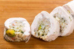 Sliced stuffed chicken breast Royalty Free Stock Images