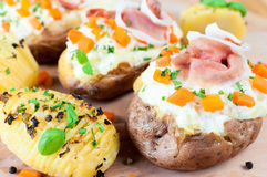 Sliced and stuffed potatoes Stock Photography