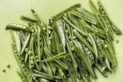 Sliced sugar snap peas Stock Images