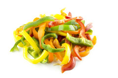 Sliced of sweet bell pepper stock image