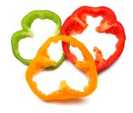 Sliced sweet bell pepper on white background. top view royalty free stock photo