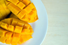 Sliced sweet mango served on the dish Royalty Free Stock Images