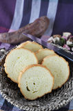 Sliced Sweet Potato Bread Put in Basket Stock Images