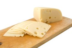 Sliced swiss cheese Royalty Free Stock Image