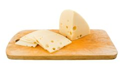 Sliced swiss cheese Royalty Free Stock Photos