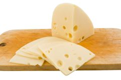 Sliced swiss cheese Royalty Free Stock Images