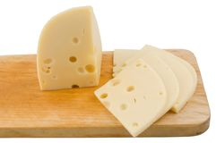 Sliced swiss cheese Stock Photo