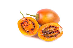 Sliced tamarillo fruits also known as tomato with white backgroud Stock Images