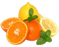Sliced tangerine and lemon with leaf mint Royalty Free Stock Photo