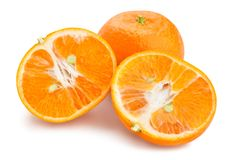 Tangerine. Sliced tangerine path isolated on white Royalty Free Stock Images