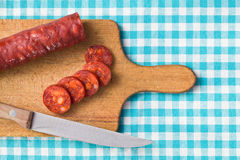 Sliced tasty chorizo sausage Royalty Free Stock Image
