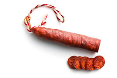 Sliced tasty chorizo sausage Royalty Free Stock Photo