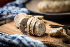 Sliced tasty white sausage. Royalty Free Stock Photography
