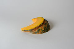 Sliced Thai yellow pumpkin isolated with white background Royalty Free Stock Image