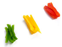 Sliced three color peppers Stock Image