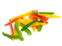 Sliced three color peppers Stock Photo