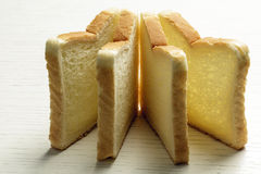 Sliced toast bread on a white surface Royalty Free Stock Photo