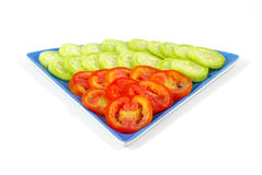 Sliced Tomato and Cucumber Stock Photography