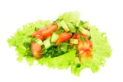 Sliced tomato, cucumber and dill on a lettuce leaf Royalty Free Stock Image