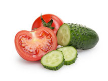 Sliced tomato and cucumber Royalty Free Stock Images
