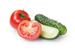 Sliced tomato and cucumber Royalty Free Stock Image