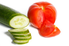 Sliced tomato and cucumber Stock Photos