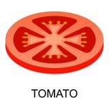 Sliced tomato icon, isometric style. Sliced tomato icon. Isometric of sliced tomato icon for web design isolated on white background royalty free illustration