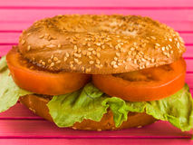 Sliced Tomato and Lettuce Salad Sesame Seeded Bagel. Tomato and Lettuce Salad Sesame Seeded Bagel Against A Pink Background Stock Image