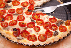 Sliced tomato tart Stock Images