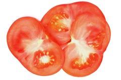Sliced tomato on white. Extreme colse up.Isolated Stock Images