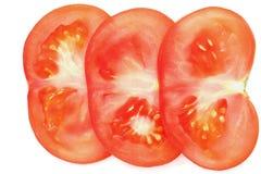 Sliced tomato on white. Extreme colse up.Isolated Stock Image