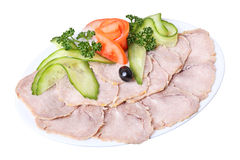 Sliced tongue with vegetables Royalty Free Stock Photo