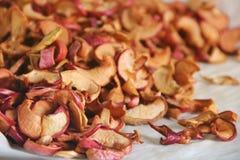Sliced torkade äpplen torka Torkad äpplebakgrund arkivfoton