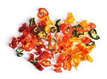 Sliced torkade färgrika peppar för den varma chili Royaltyfri Fotografi