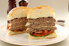 Sliced Triple Decker Burger Stock Photos