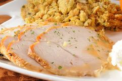 Sliced turkey breast. A Thanksgiving dinner served family style with focus on the sliced turkey breast stock photography
