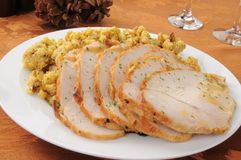 Sliced turkey and dressing. A serving platter of sliced turkey and dressing for Thanksgiving royalty free stock photography