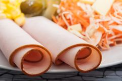 Sliced turkey and fresh vegetables in a plate. Closeup of sliced turkey and fresh vegetables in a plate stock photos
