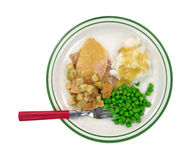 Sliced turkey potatoes and peas TV dinner Royalty Free Stock Image