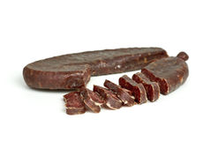 Sliced turkic summer sausage Royalty Free Stock Images