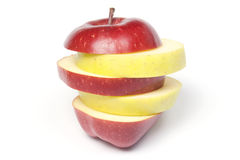 Sliced Two-colour Apple Stock Images