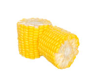 Sliced two corns on white Stock Images