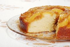 Sliced Upside Down Pear Cake On Glass Plate Stock Image