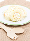 Sliced Vanilla Roll Cake. Stock Image