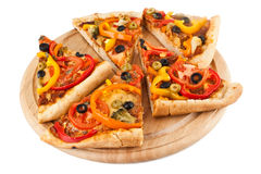 Sliced of vegetable pizza Royalty Free Stock Photography