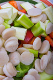 Sliced Vegetables. Sliced Bell Peppers, Zucchini, and Water Chestnut Royalty Free Stock Photos