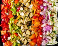 Sliced vegetables on a baking tray prepared for baking. Eggplant, zucchini, tomatoes, paprika and onions. Top view royalty free stock photo