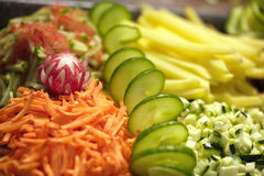 Sliced vegetables close-up Stock Images