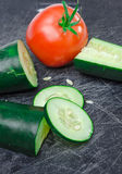 Sliced vegetables on Cutting Board Stock Images