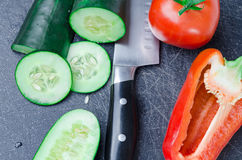 Sliced vegetables on Cutting Board Stock Image